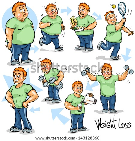 Man before and after weight loss program and training. Hand drawn funny cartoon characters, sketch, isolated - stock vector