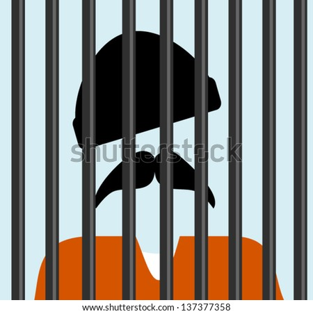man behind bars in jail - stock vector