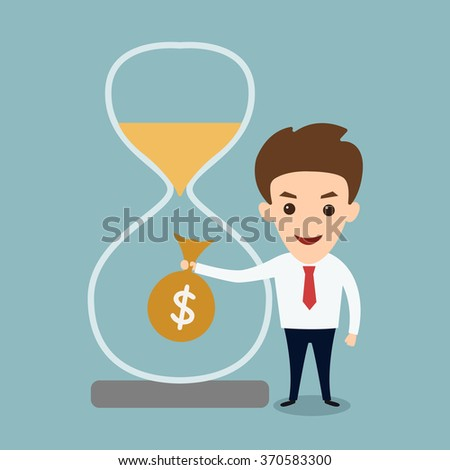 Man beside hourglass holding money bag- time is money - stock vector