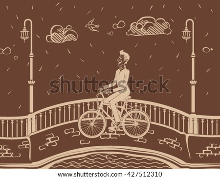 Man bicycling in City. The vector illustration of the Bicyclist in City. Hipster Man Are Riding on a Bicycle Along the Street. Biking.    - stock vector