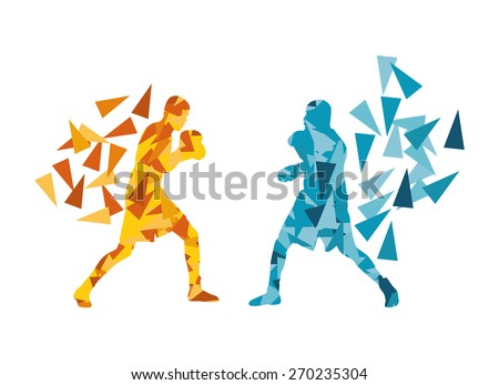 Man boxing fight facing each other in match vector background concept made of triangular fragments - stock vector