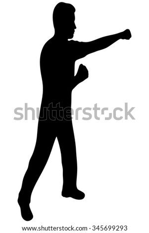 man boxing isolated on a white background