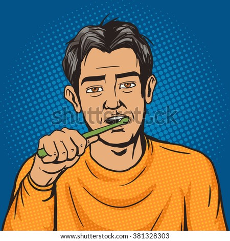 Man brushing his teeth in the morning pop art style vector. Human illustration. Comic book style imitation. Vintage retro style. Conceptual illustration