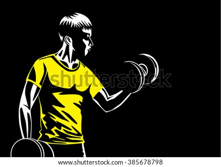 Man building muscle at arm with lifting dumbbell. Illustration about sport and fitness. - stock vector