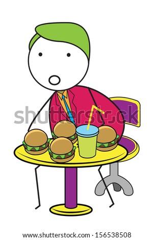 man burger - stock vector