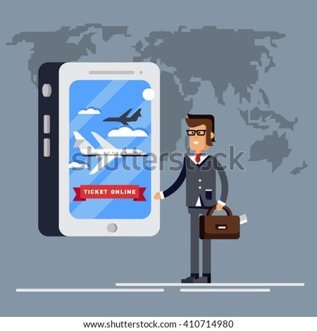 Man buys or booking plane tickets through an online application in his phone. Order tickets to travel.  Latest offerings - stock vector
