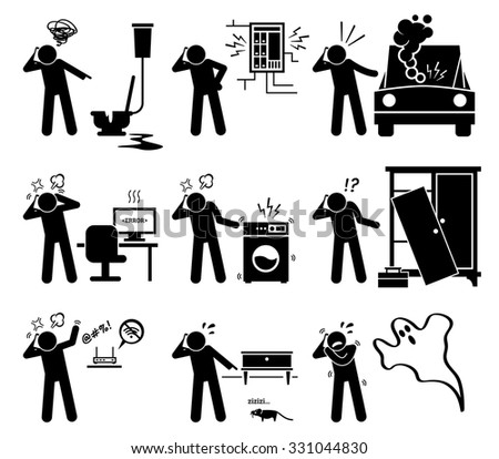 Man Calling and Complaining with Phone for Household Problems - Plumbing, Electricity, Car, Computer, Electrical, Furniture, Internet, Pest, and Ghost - stock vector