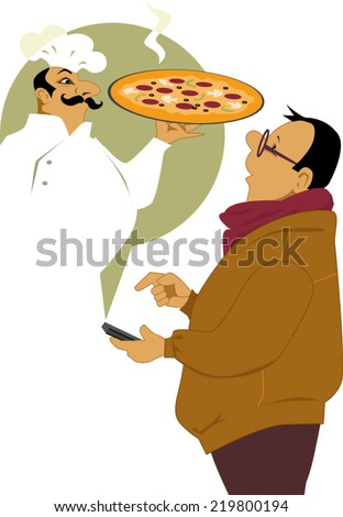 Man calling on his smart-phone for a pizza delivery, pizzeria chef appearing in front of him with a fresh pie, vector illustration, no transparencies - stock vector
