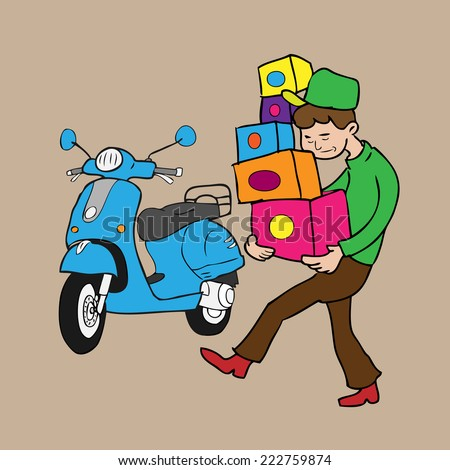 Man carries boxes delivery by scooter cartoon vector - stock vector
