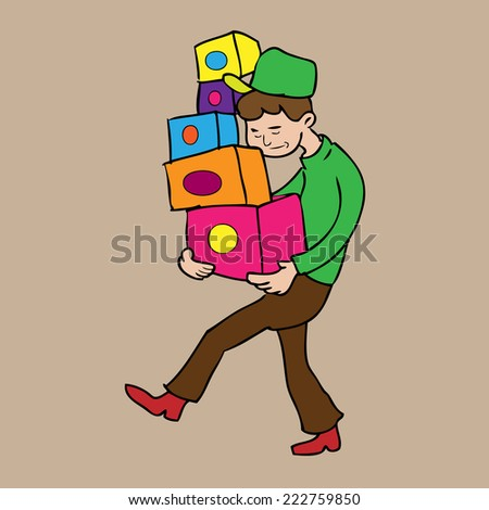 Man carries boxes delivery cartoon vector - stock vector