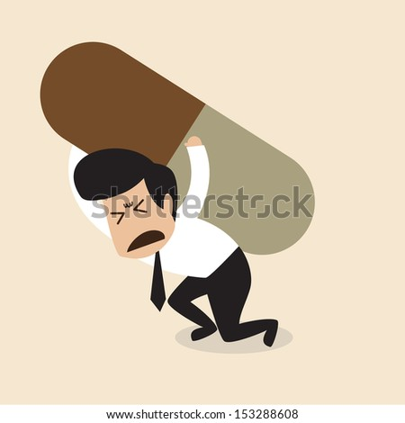 Man carry a big pill - stock vector