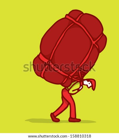 Man carrying a huge backpack - stock vector