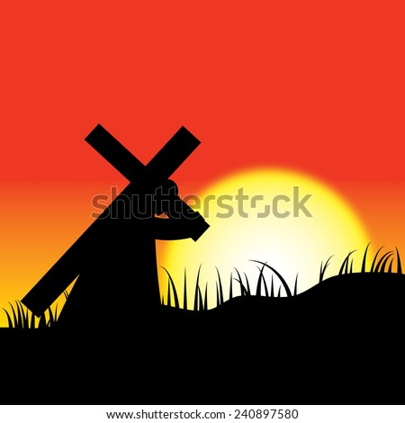 Man carrying christ cross on sunset background. - stock vector