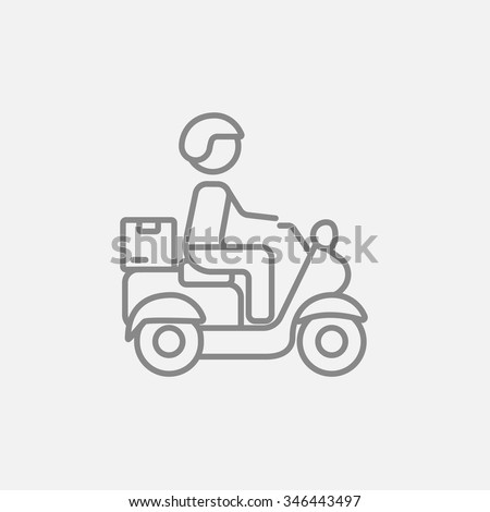 Man carrying goods on bike line icon for web, mobile and infographics. Vector dark grey icon isolated on light grey background.