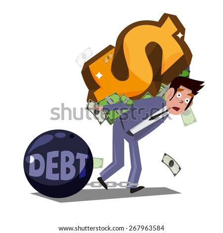 man carrying money symbol on his back. Money slave concept - vector illustration - stock vector