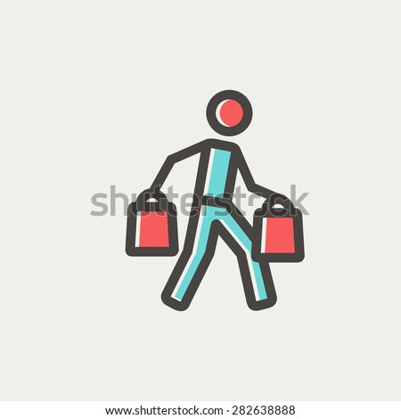 Man carrying shopping bags icon thin line for web and mobile, modern minimalistic flat design. Vector icon with dark grey outline and offset colour on light grey background. - stock vector