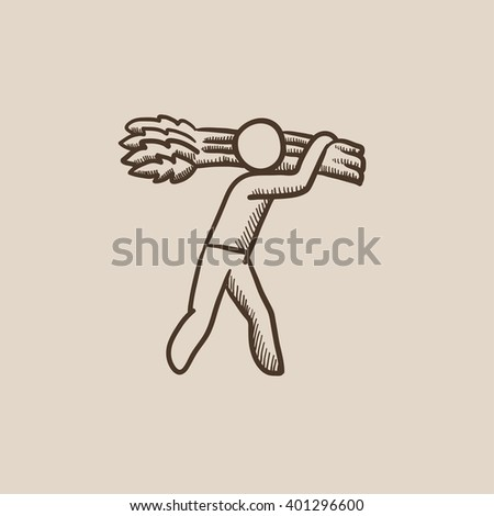 Man carrying wheat sketch icon. - stock vector