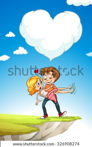 Man carrying woman with love illustration - stock vector