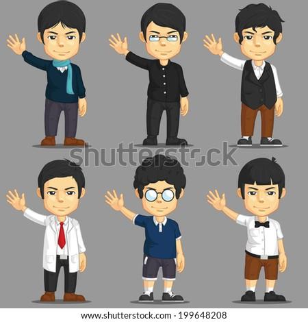 Man Cartoon Character Set - stock vector