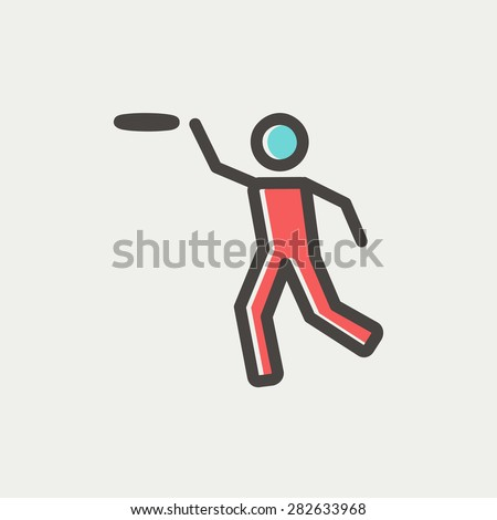 man catching a flying disc icon thin line for web and mobile, modern minimalistic flat design. Vector icon with dark grey outline and offset colour on light grey background. - stock vector