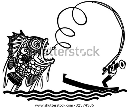 Catch fish clipart on scared man clip art retro