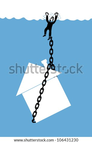 man chained to his house in the deep water - stock vector