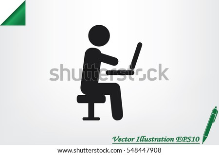 man chair laptop icon vector illustration eps10.
