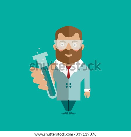 Man character scientist laboratory doctor - stock vector