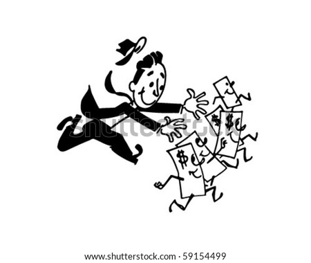Man Chasing Money - Retro Clip Art - stock vector