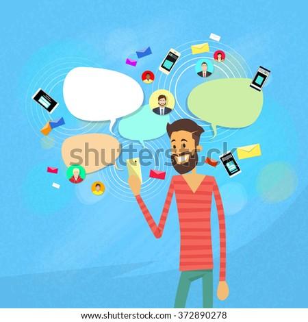 Man Chatting Texting, Social Network Communication Flat Vector Illustration - stock vector
