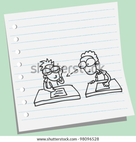 man cheat student doodle illustration - stock vector