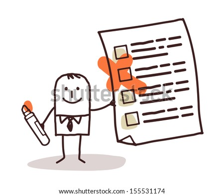 man & checking list - stock vector