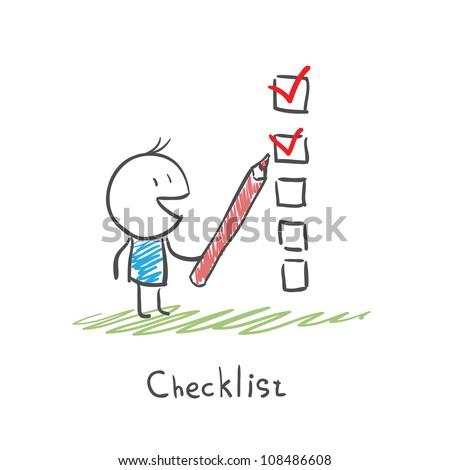 Man checking the checklist boxes - stock vector