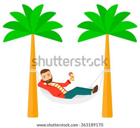 Man chilling in hammock. - stock vector