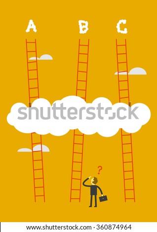 man choosing the stairway - stock vector