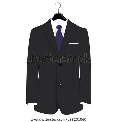 Man classical black suit on plastic hanger vector illustration. Grey businessman suit with blue neck tie and white shirt - stock vector