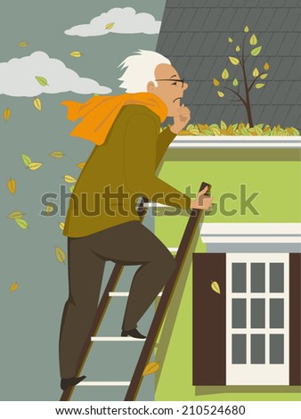 Man cleaning a rain gutter clogged with leaves - stock vector