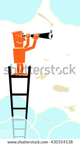 man climbed onto ladder and looking through a telescope  - stock vector