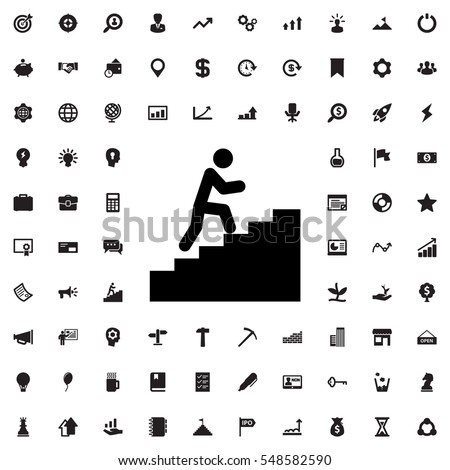 man climbing stairs icon illustration isolated vector sign symbol