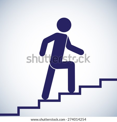 Man climbs the stairs. Symbol Icon. Vector illustration - stock vector