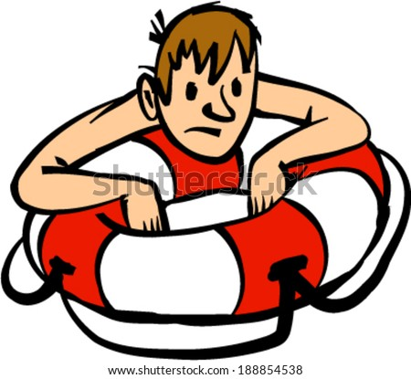 Man clinging to life preserver cartoon vector illustration - stock vector