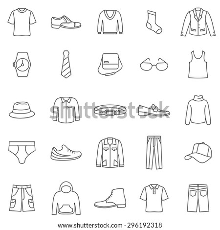 Man Clothes line icons set.Vector - stock vector