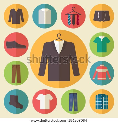 Man clothing set, clothes icons, shopping elements. Flat design vector - stock vector