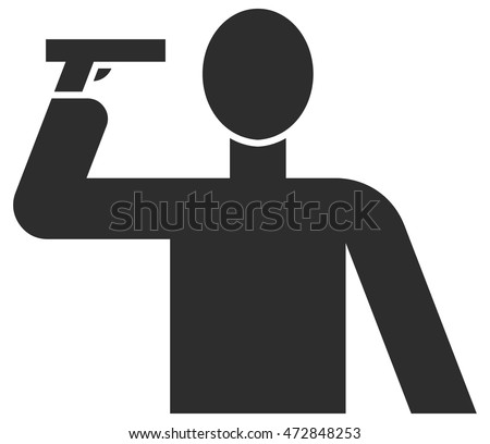 Man committing suicide holding gun against his head vector illustration