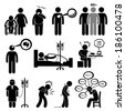 Man Common Diseases and Illness Stick Figure Pictogram Icon Cliparts - stock vector