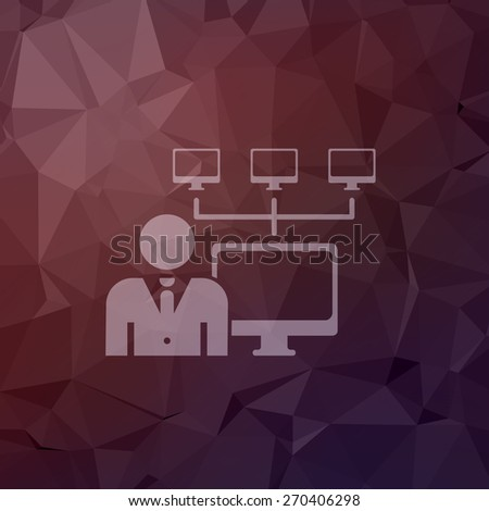 Man, computer with camera icon in flat style for web and mobile, modern minimalistic flat design. Vector white icon on abstract polygonal background - stock vector