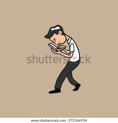 Man concentrates on mobile phone - stock vector