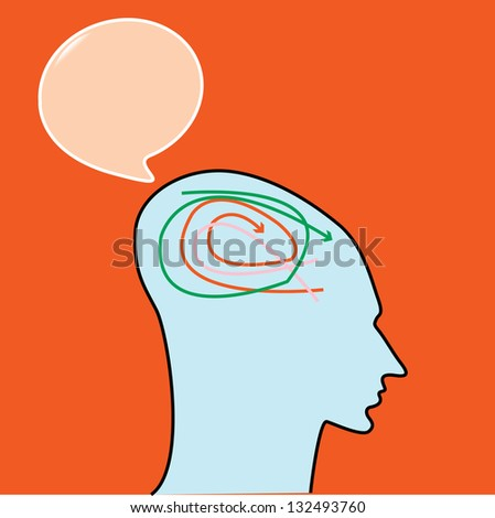 Man confuse thinking with bubble quote. vector - stock vector