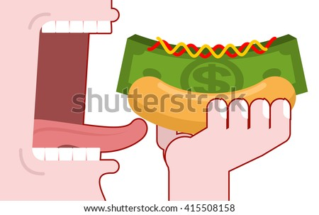 Man consumes money. Cash hot dog. Muffin and dollars pack. Fast food fo rich, the oligarchs. Mustard and ketchup. Eats green currency - stock vector