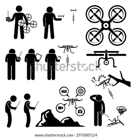 Man Controlling Flying Drone Quadcopter Stick Figure Pictogram Icons - stock vector